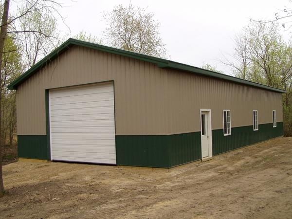30 x 60 x 12 steel standard barn construction michigan for Pinckney garage door