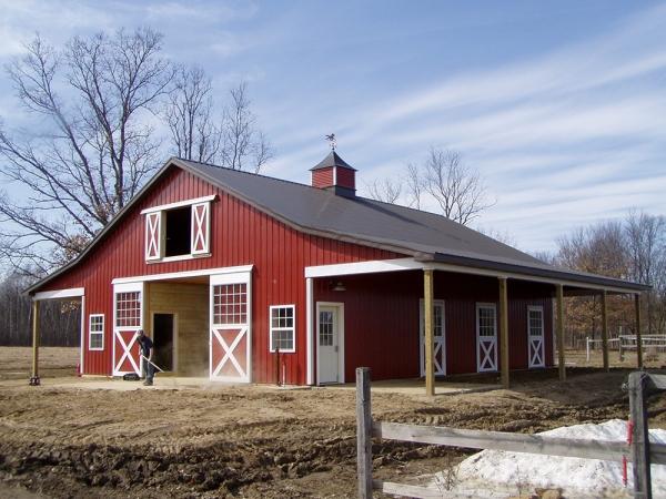 36 x 48 x 13 horse barn michigan equestrian horse barn for Hay pole barns
