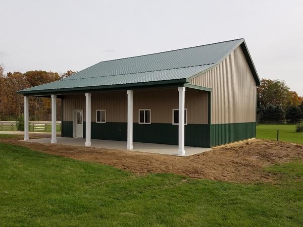 30 X 40 X 14 Porch Custom Barn Construction Michigan