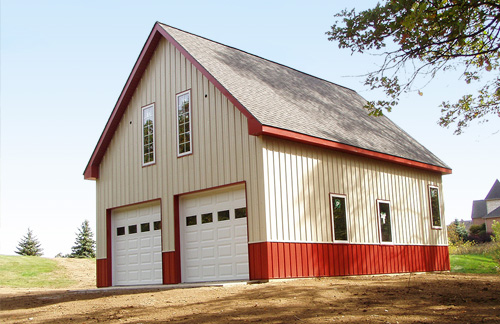 Custom steel barns pinckney mi burly oak builders for Metal building with loft